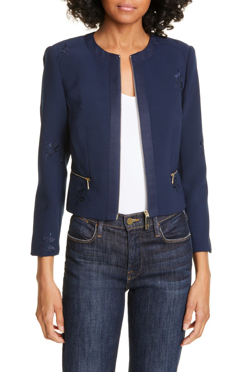 TED BAKER LONDON Saahra Embroidered Crop Jacket, Main, color, NAVY
