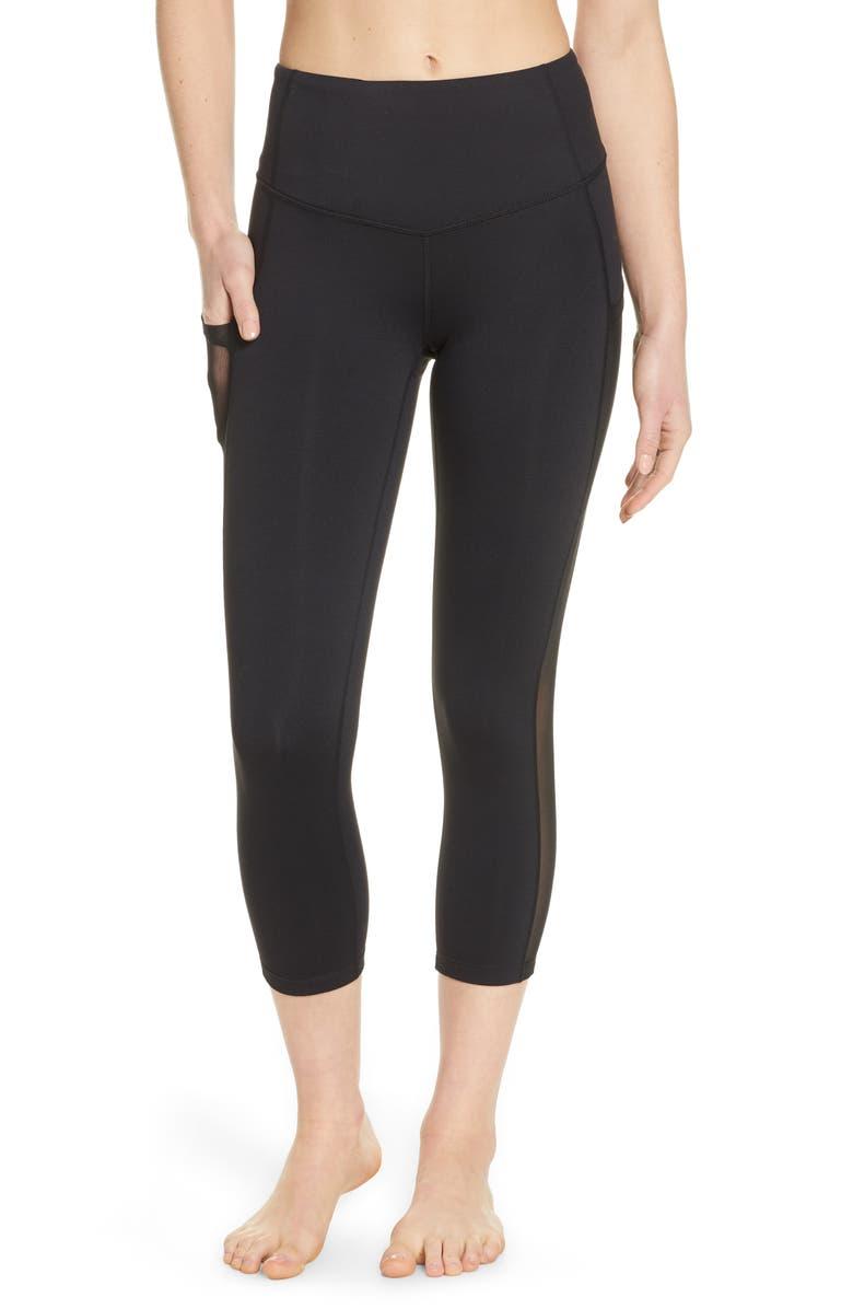 ZELLA Mesh Side Pocket Crop Leggings, Main, color, BLACK