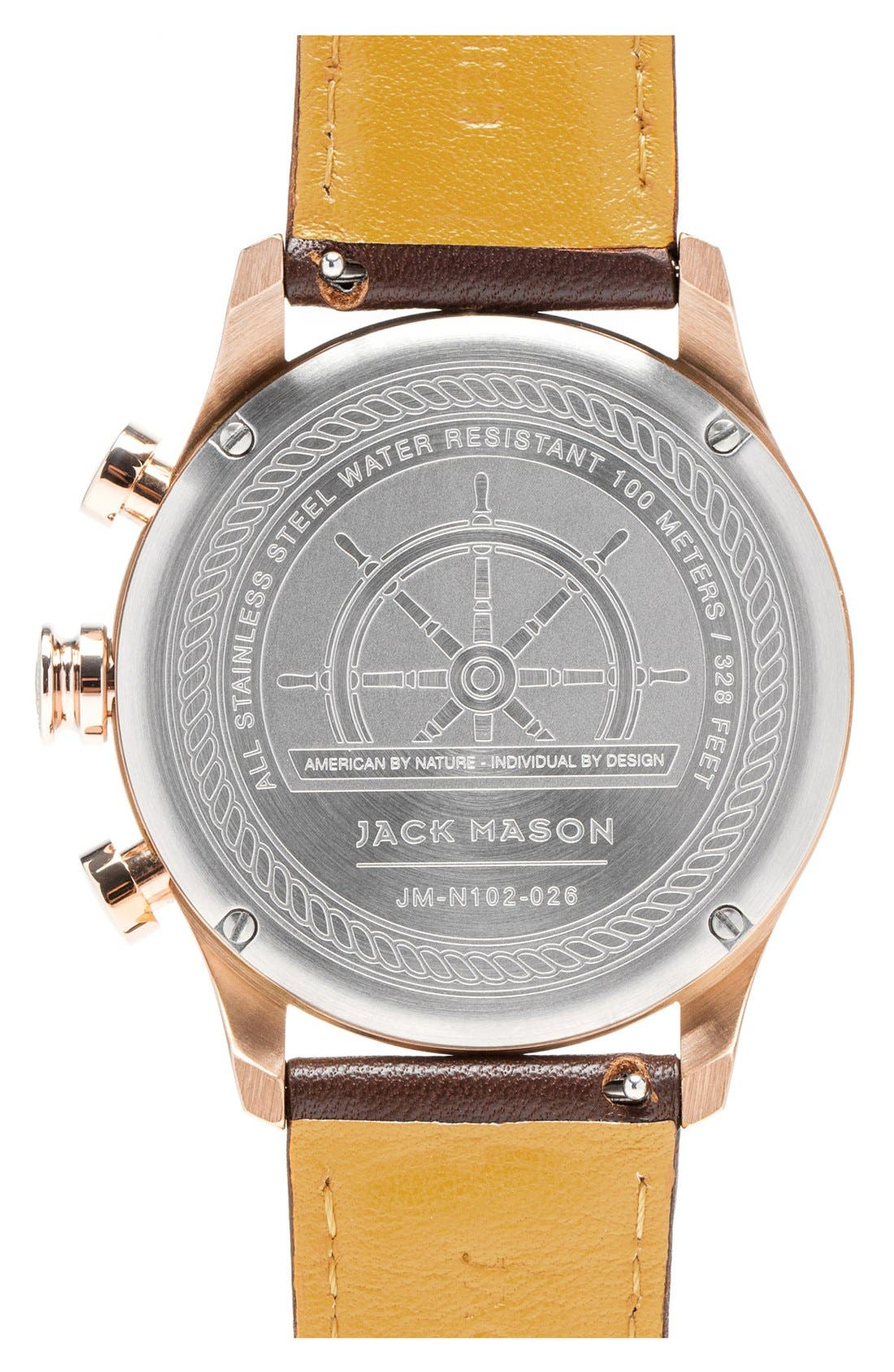 ,                             Nautical Chronograph Leather Strap Watch, 42mm,                             Alternate thumbnail 3, color,                             GREY/ BROWN