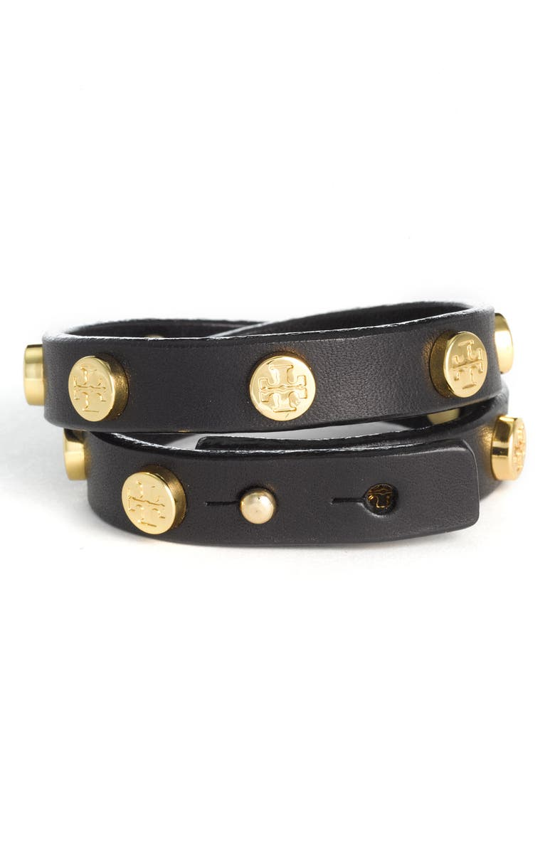 TORY BURCH Double Wrap Logo Bracelet, Main, color, 001