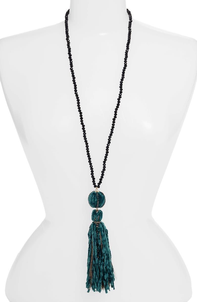 STELLA + RUBY Velvet Tassel Necklace, Main, color, 300