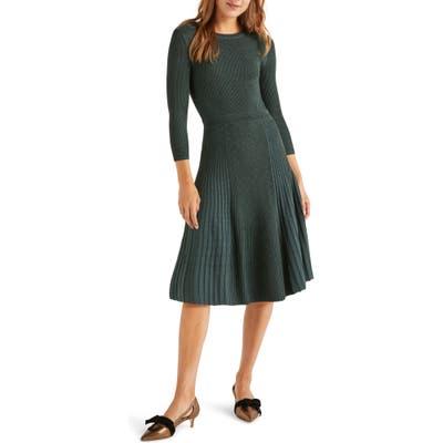 Boden Diona Metallic Thread Fit & Flare Sweater Dress, Green
