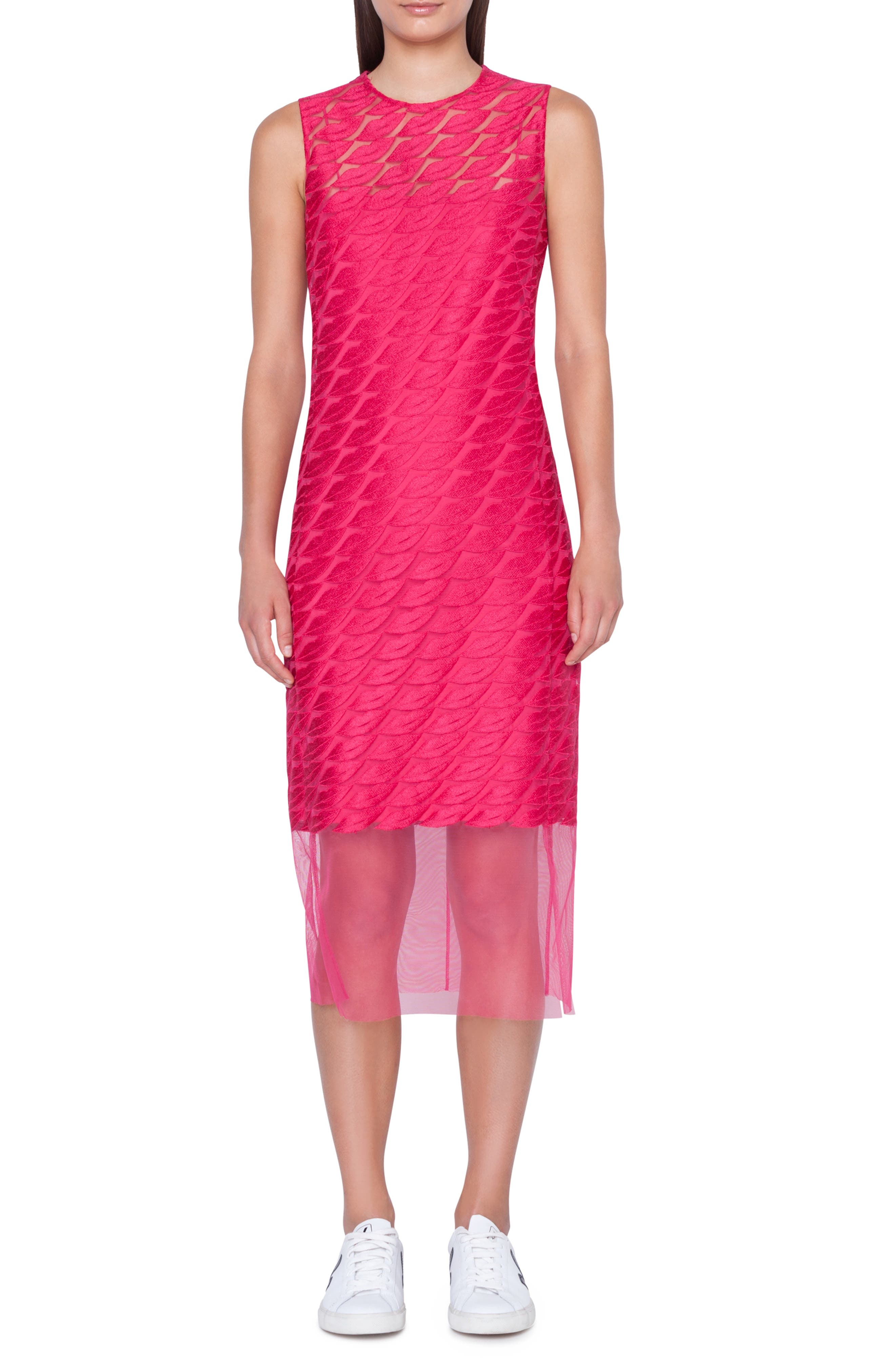 Akris Lip Embroidered Tulle Overlay Dress, Pink