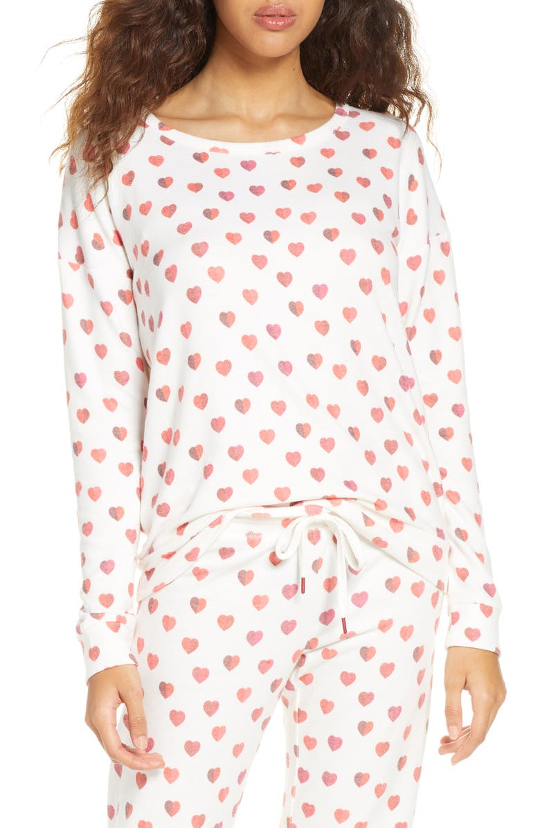 PJ SALVAGE Heart Print Pajama Top, Main, color, IVORY