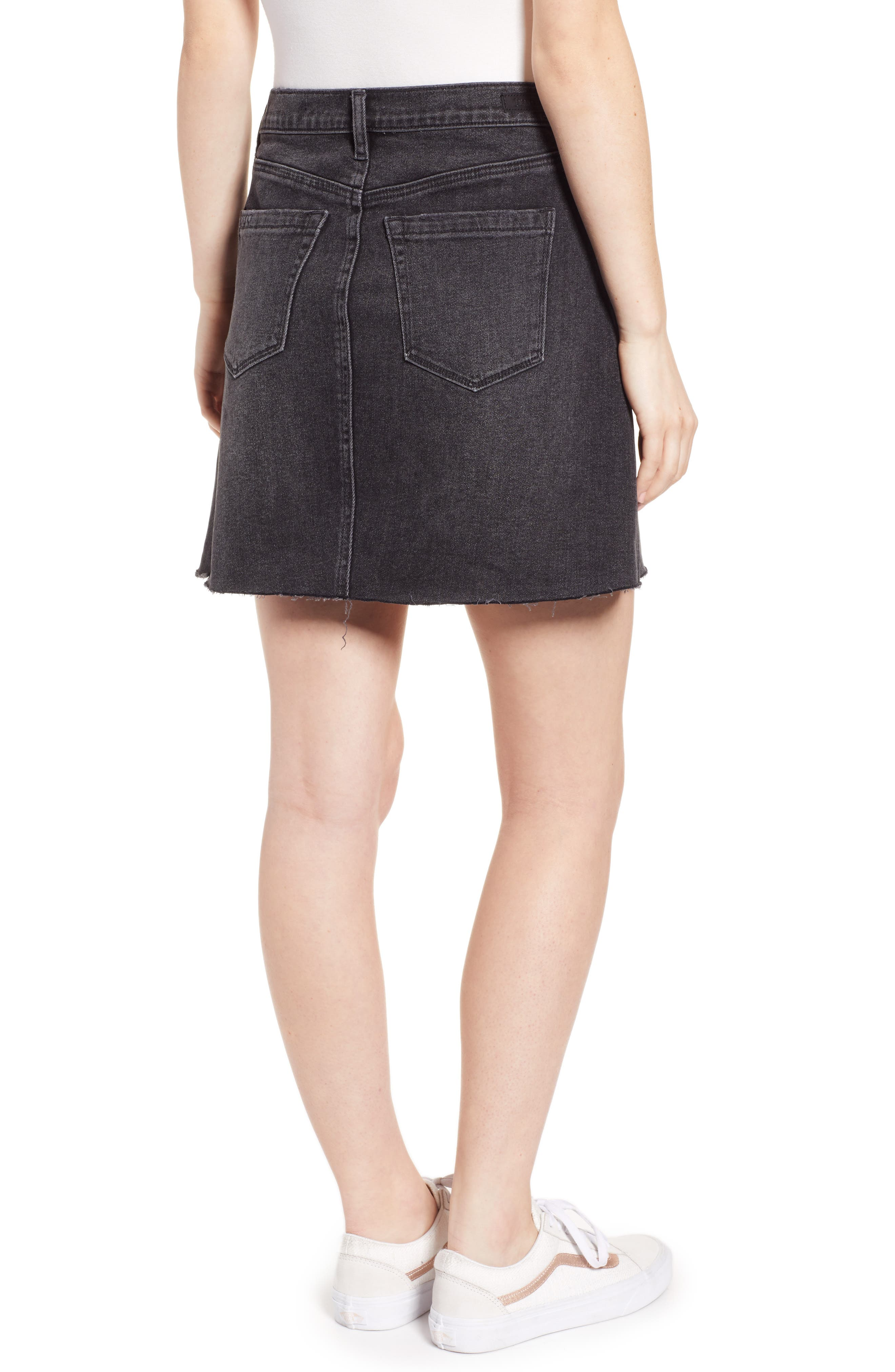 ,                             Raw Hem Denim Skirt,                             Alternate thumbnail 2, color,                             BEFORE AND AFTER