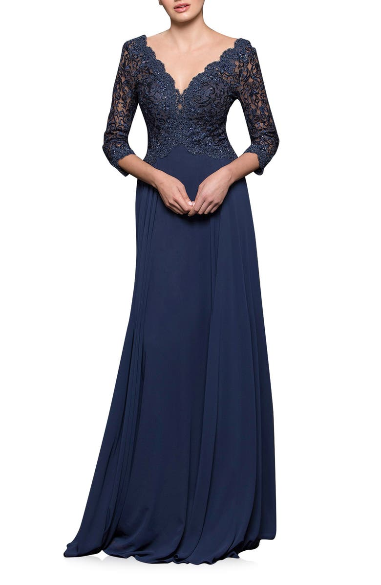 MARSONI V-Neck Lace & Chiffon Trumpet Gown, Main, color, NAVY