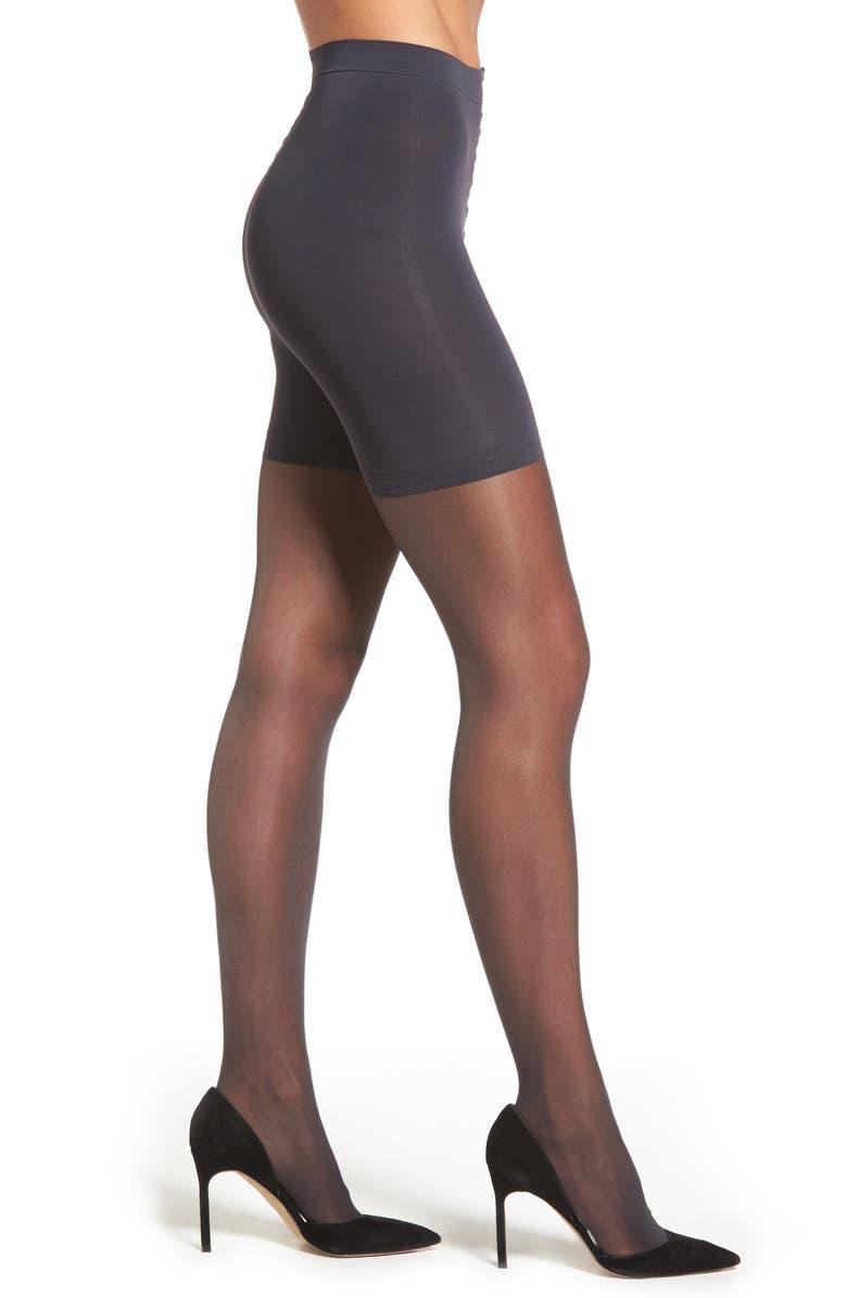 DONNA KARAN NEW YORK Donna Karan The Signature Collection Sheer Satin Pantyhose, Main, color, OFF BLACK