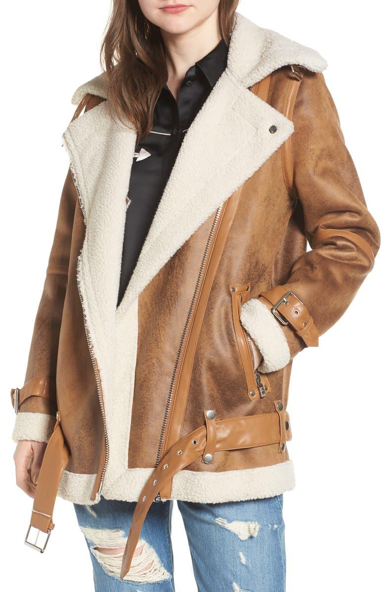 AVEC LES FILLES Faux Shearling Biker Jacket, Main, color, 242