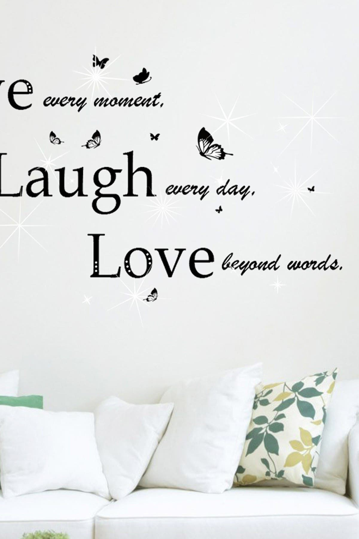 Image of WalPlus Swarovski Crystal Accented Classic Live Laugh Love Decal