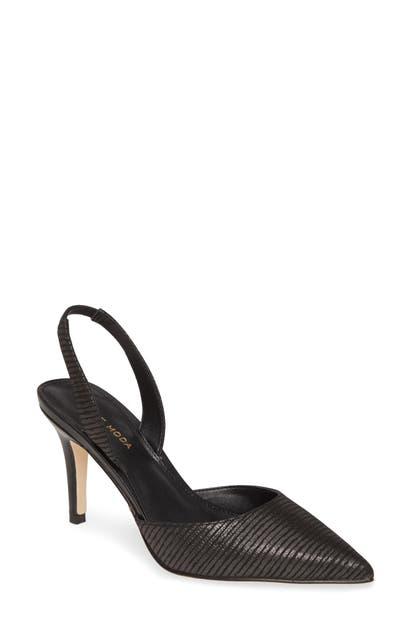 Pelle Moda Ima Pointed Toe Slingback Pump In Black Leather