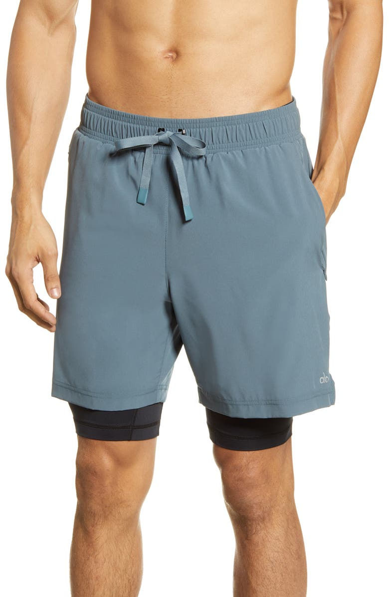 ALO Unity 2-in-1 Shorts, Main, color, SLATE/ BLACK