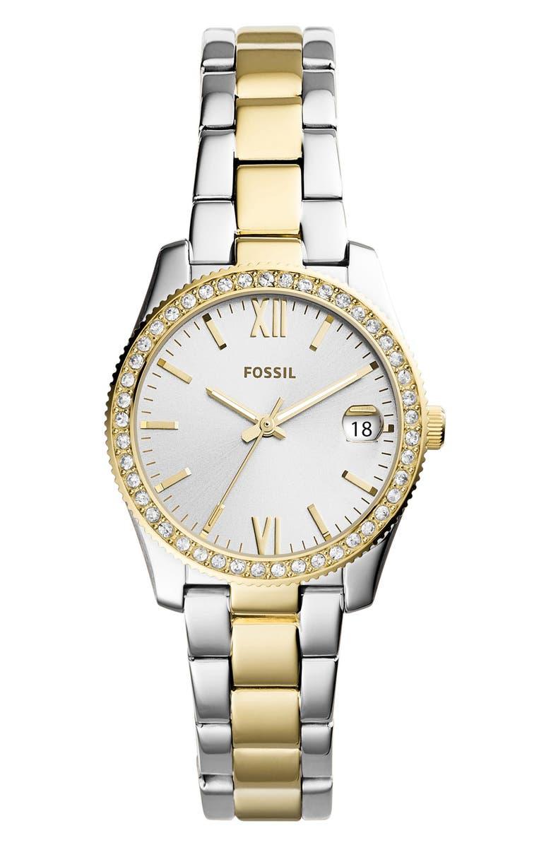 FOSSIL Scarlette Crystal Bracelet Watch, 32mm, Main, color, SILVER/ GOLD