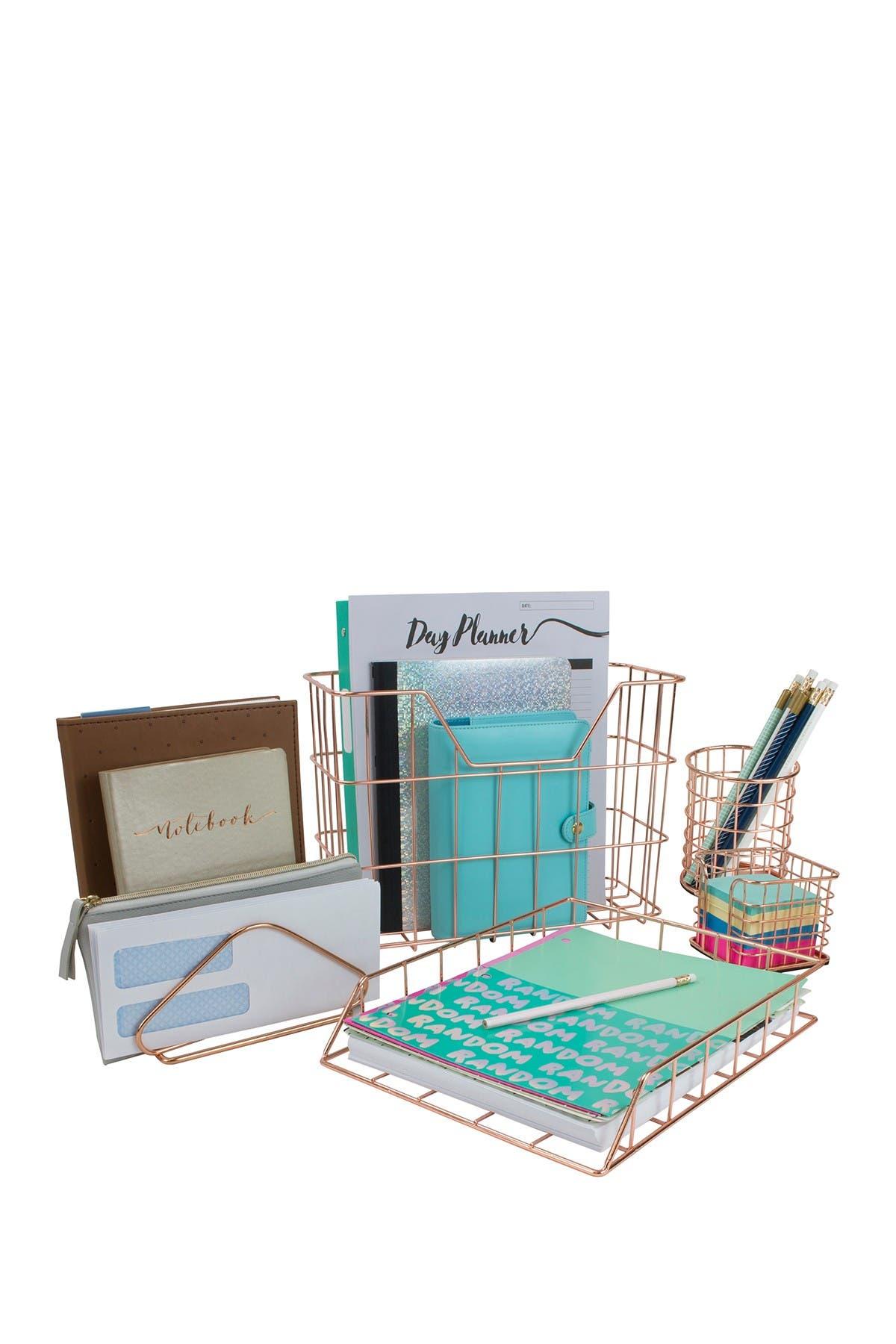 Image of Sorbus Copper Wire Metal Desk Organizer 5-Piece Set