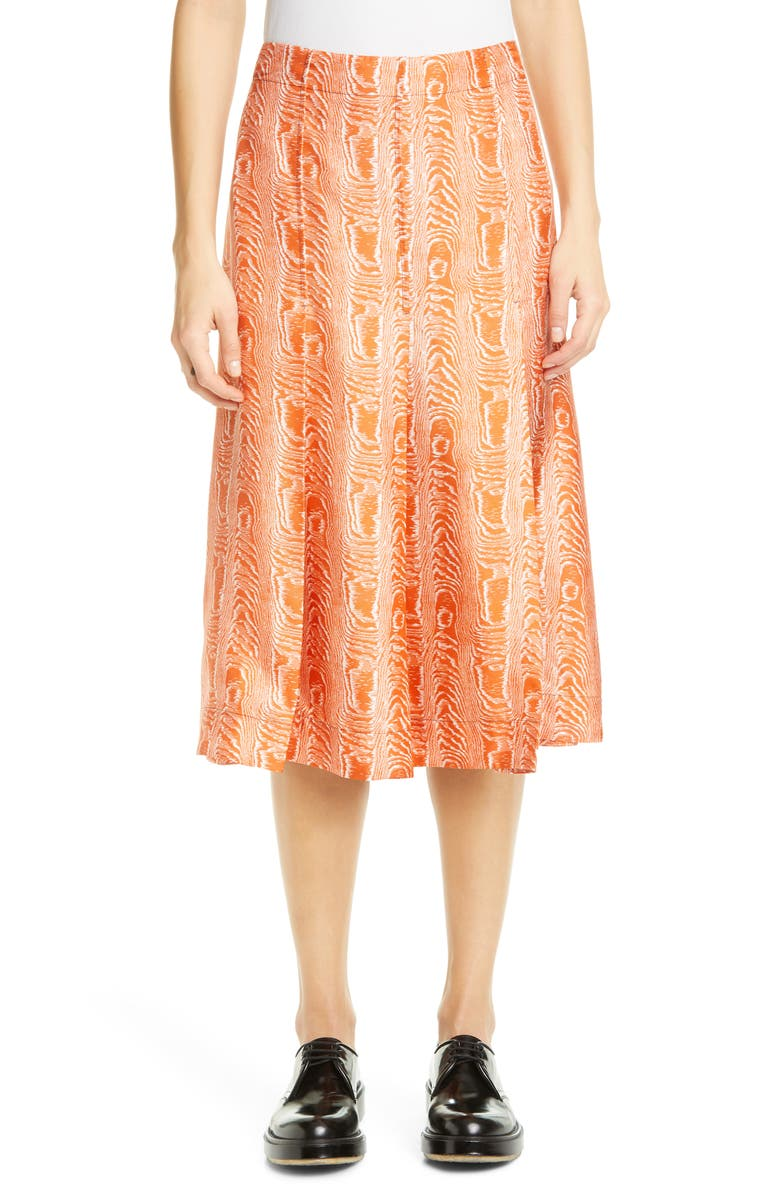 MARNI Silk Twill A-Line Skirt, Main, color, ARABESQUE