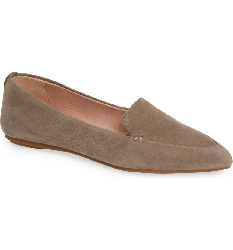 TARYN ROSE Faye Pointy Toe Loafer, Main, color, CLAY SUEDE