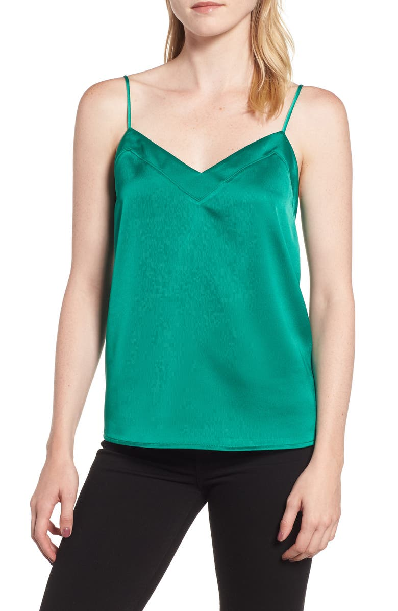 GIBSON Satin Camisole, Main, color, EMERALD