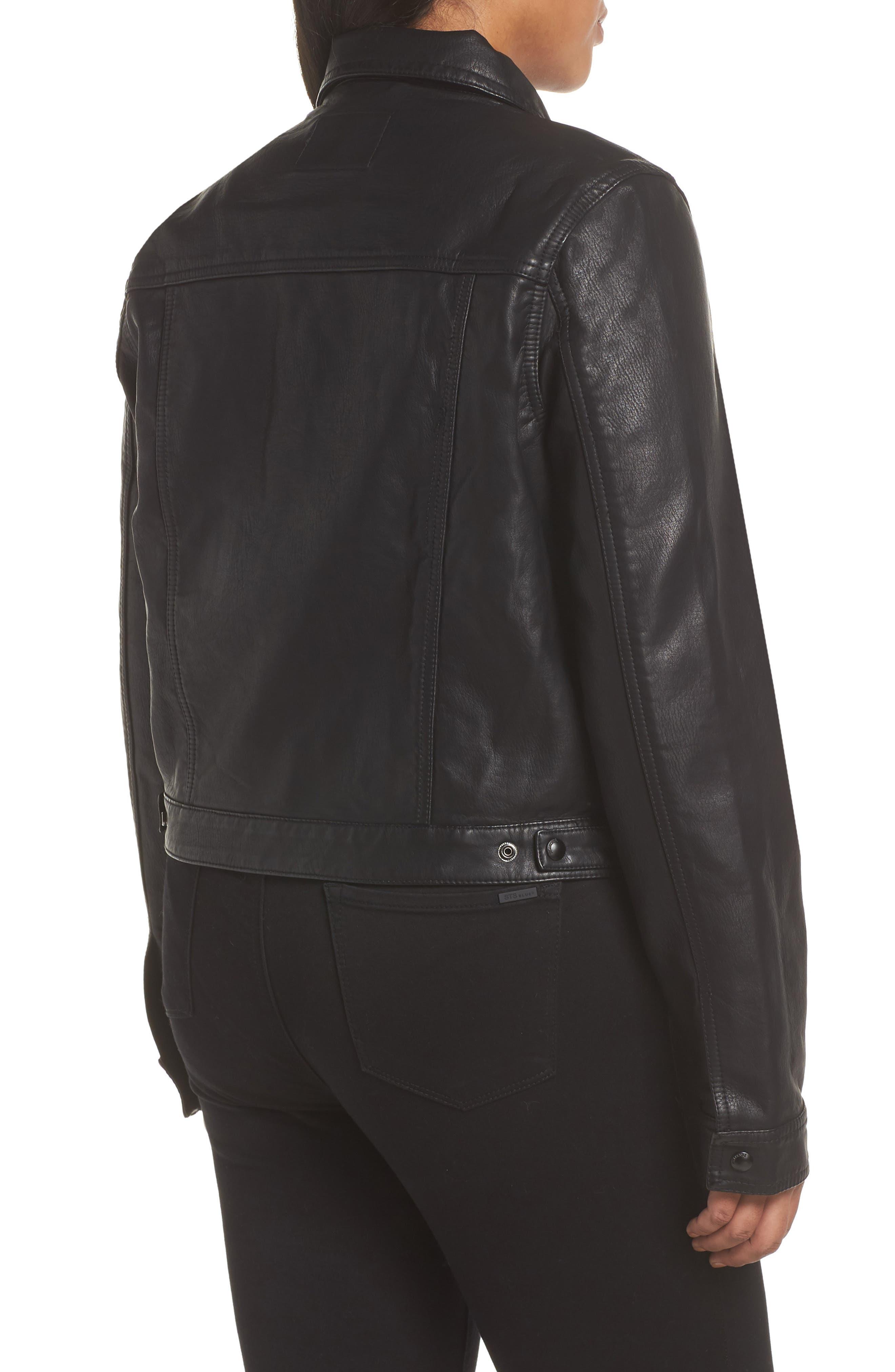 ,                             Faux Leather & Denim Jacket,                             Alternate thumbnail 5, color,                             001