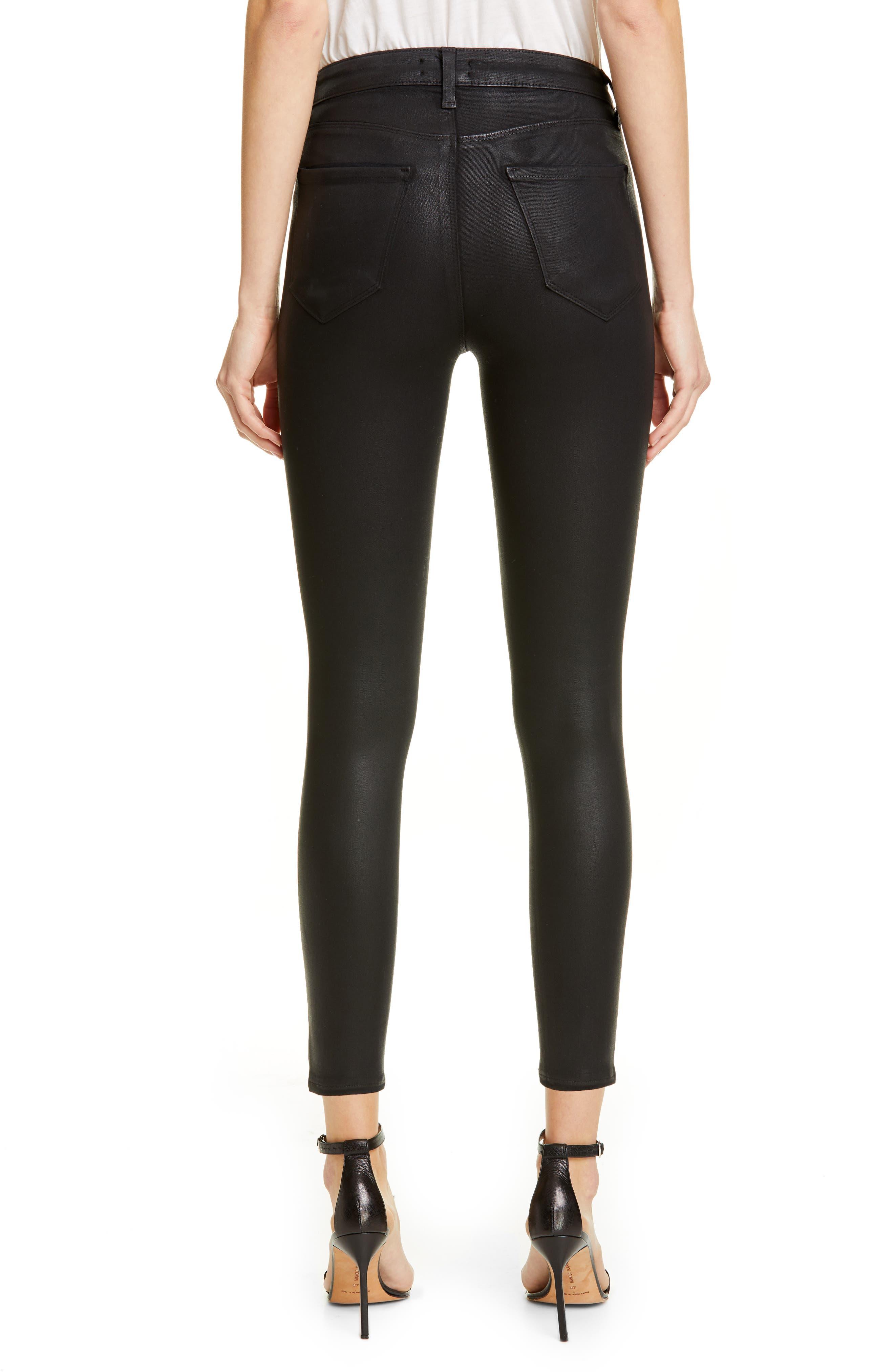 ,                             Coated High Waist Skinny Jeans,                             Alternate thumbnail 2, color,                             BLACK COATED