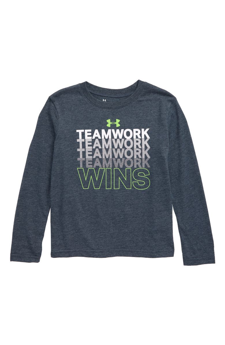 UNDER ARMOUR Teamwork Graphic T-Shirt, Main, color, WIRE HEATHER