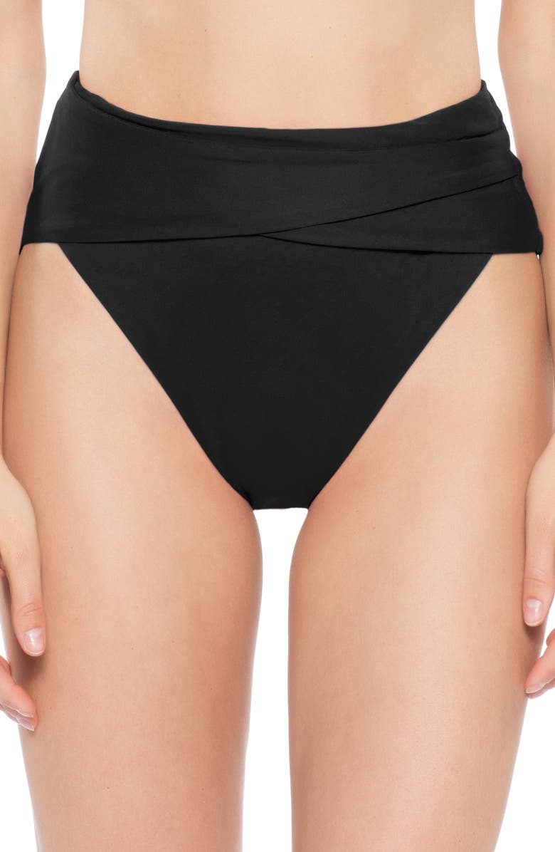 BECCA Color Code Crossover High Waist Bikini Bottoms, Main, color, BLACK