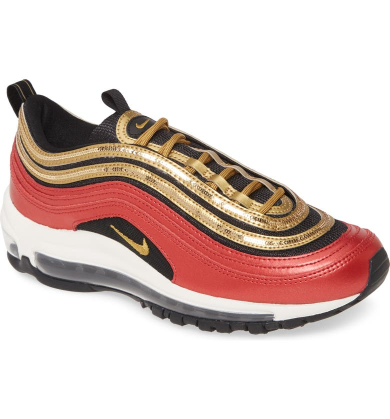 NIKE Air Max 97 Sneaker, Main, color, RED/ METALLIC GOLD/ BLACK