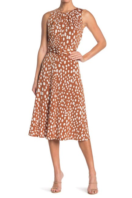 Image of London Times Patterned Belted Midi Dress