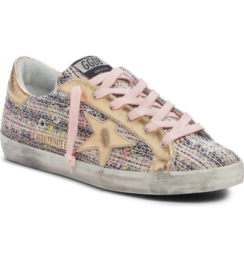 GOLDEN GOOSE Superstar Low Top Sneaker, Main, color, PINK TWEED/ GOLD