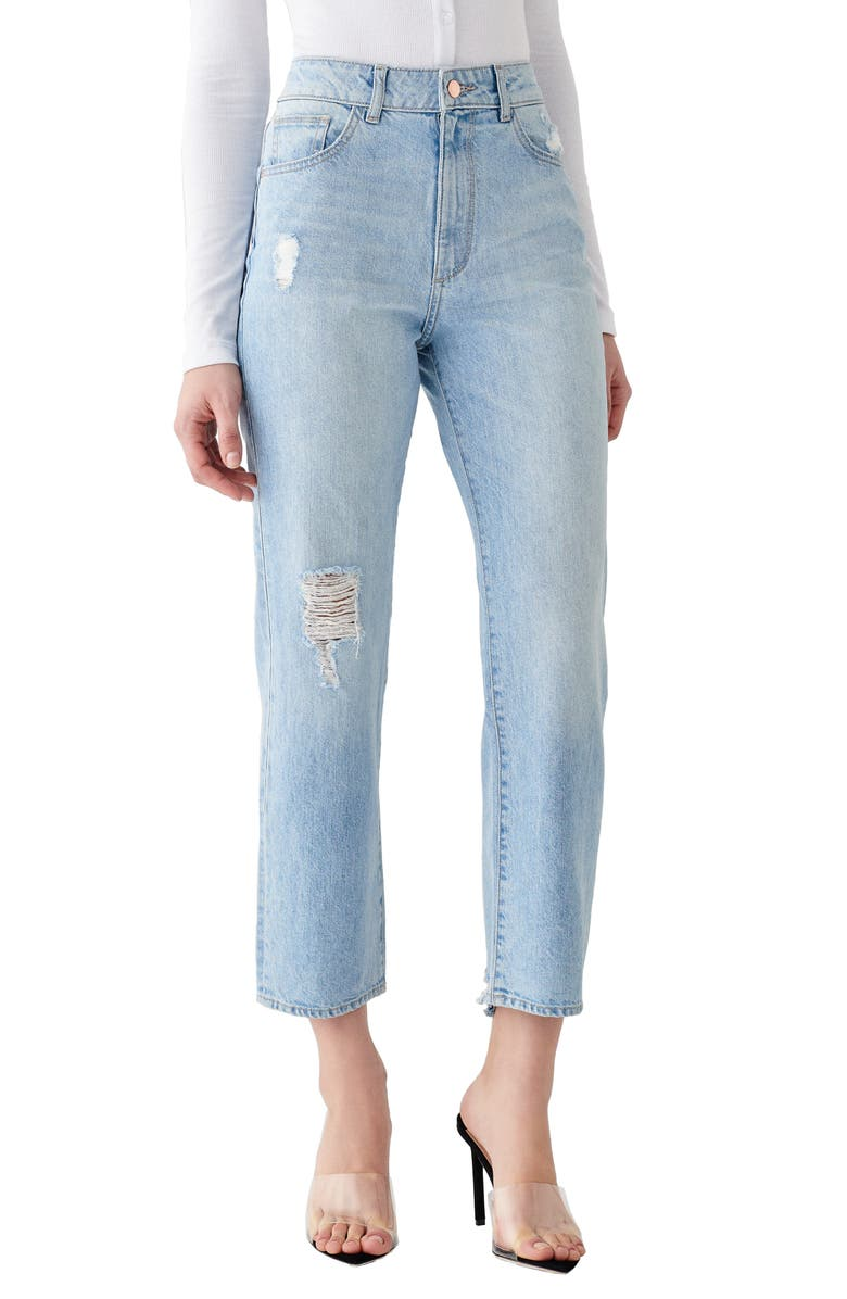 DL1961 x Marianna Hewitt Jerry Ripped High Waist Vintage Crop Straight Leg Jeans, Main, color, 430