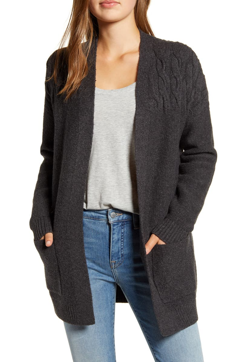 LUCKY BRAND Venice Cable Detail Cardigan, Main, color, 020