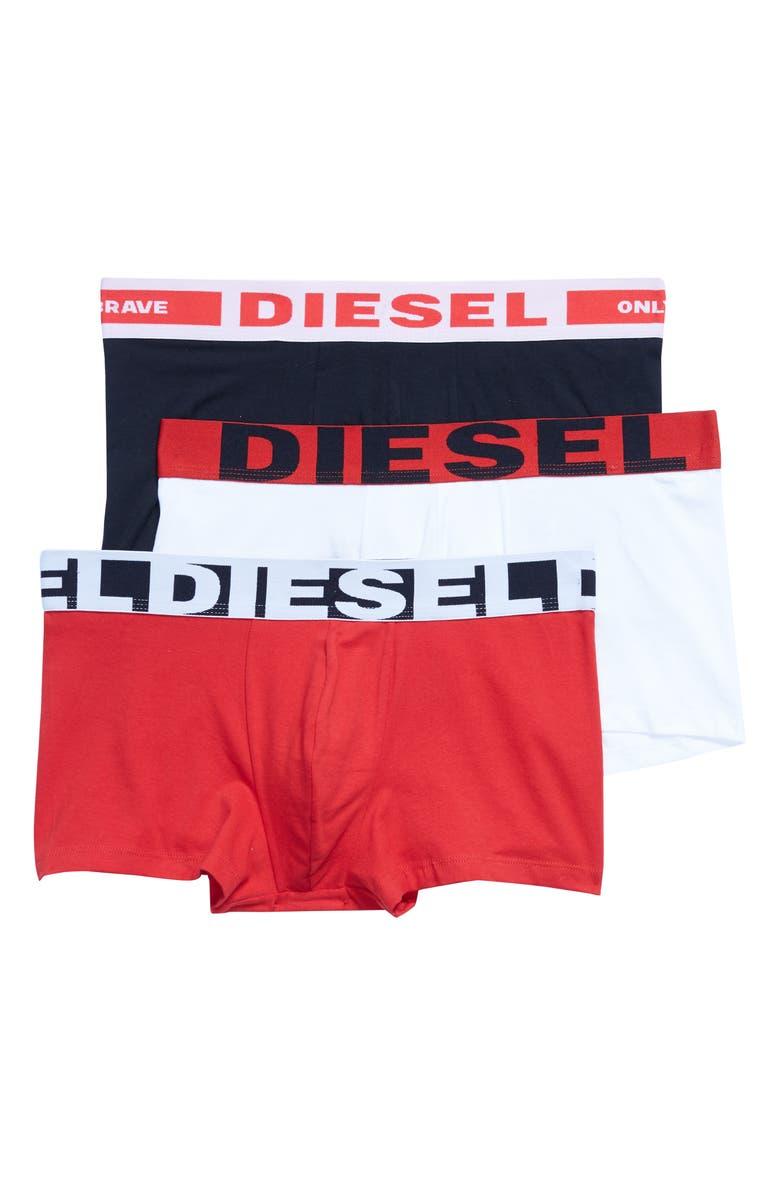 DIESEL<SUP>®</SUP> UMBX Damien 3-Pack Boxer Briefs, Main, color, BLACK/ WHITE/ RED