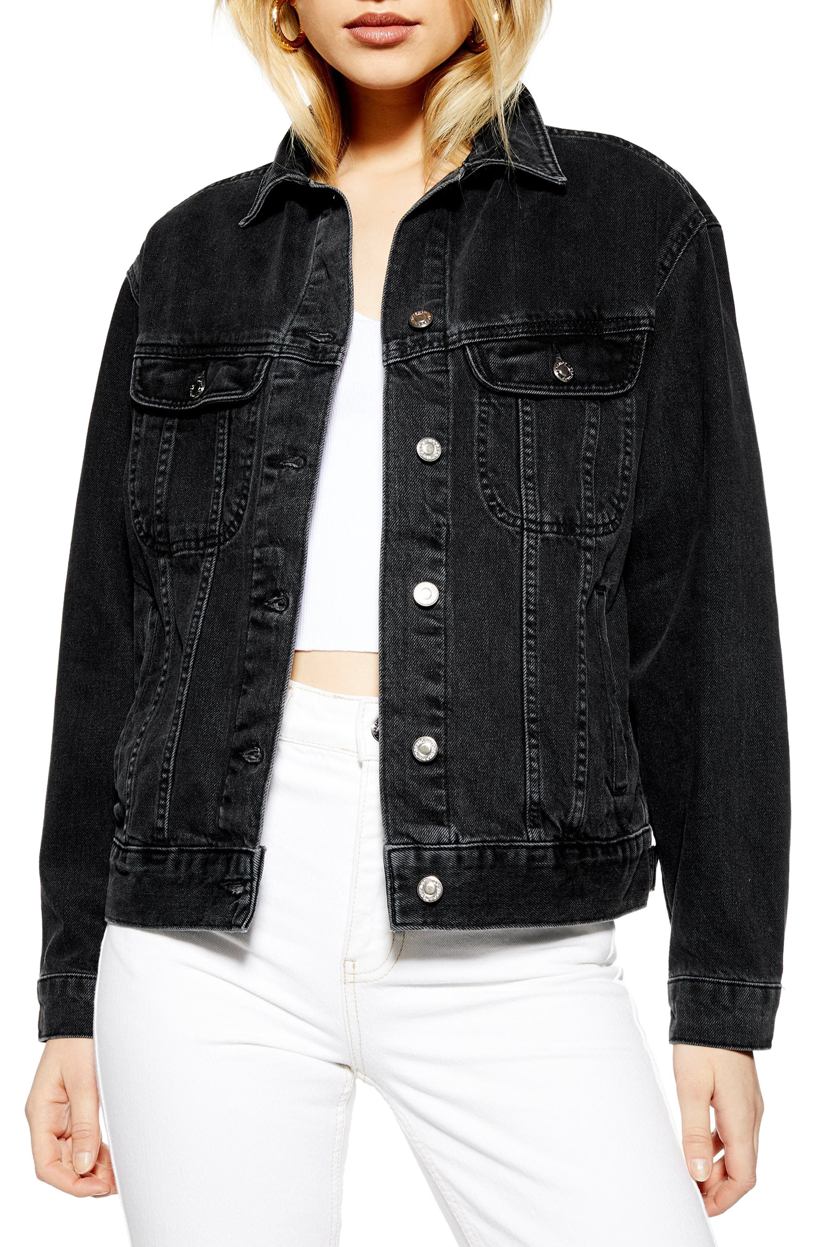 ,                             Oversize Denim Jacket,                             Main thumbnail 1, color,                             WASHED BLACK
