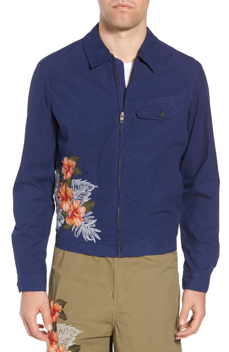 FRENCH CONNECTION Embroidered Poplin Harrington Jacket, Main, color, PATRIOT BLUE