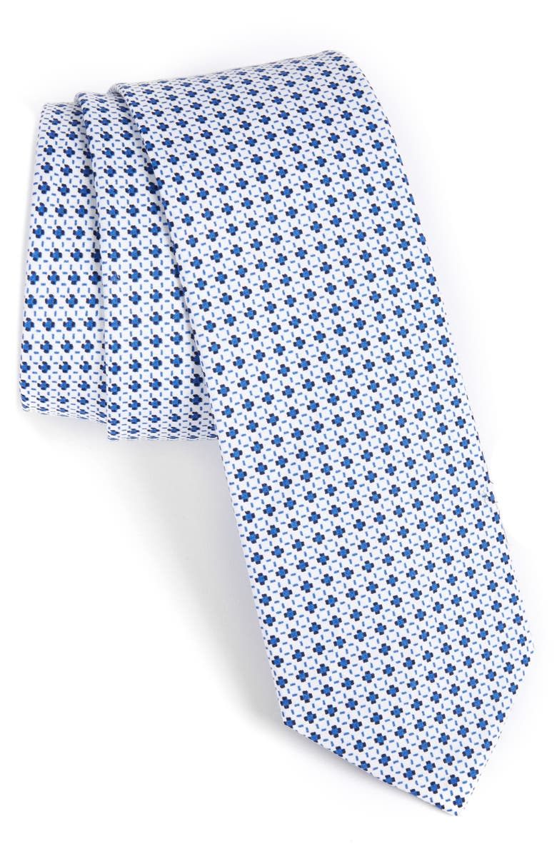 1901 Medallion Cotton Tie, Main, color, WHITE