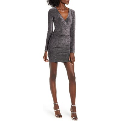 Leith Metallic Long Sleeve Wrap Dress, Grey