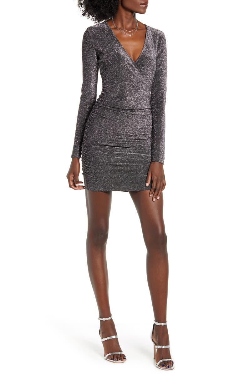 LEITH Metallic Long Sleeve Wrap Dress, Main, color, BLACK SILVER METALLIC