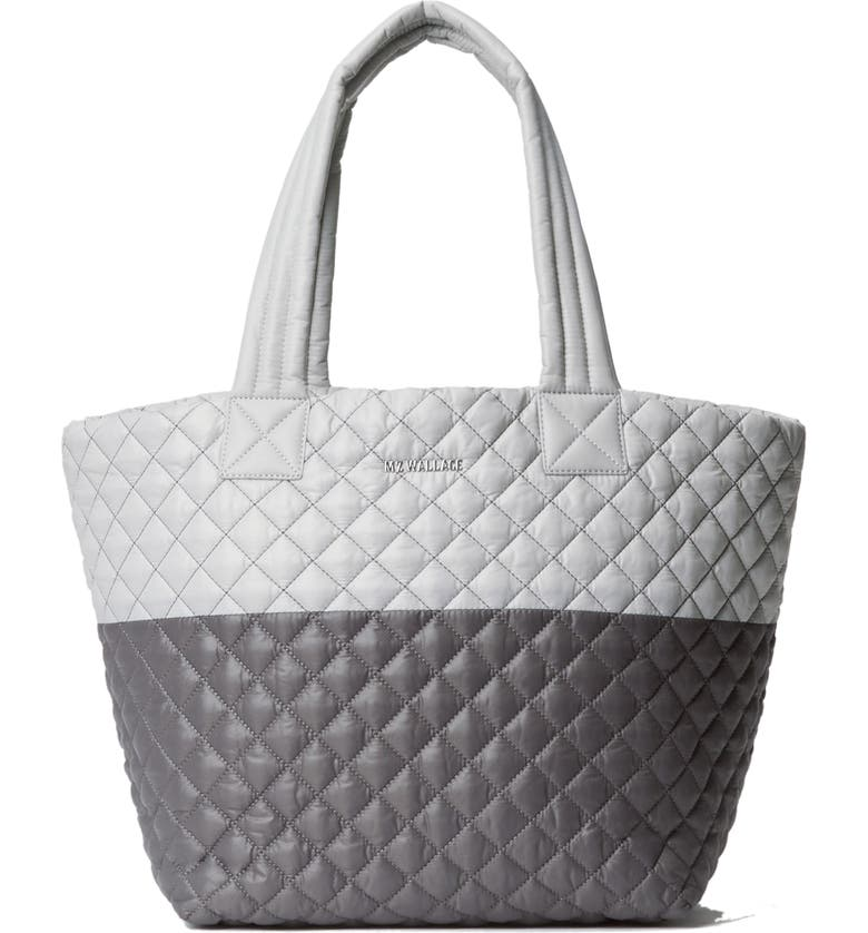 MZ WALLACE Medium Metro Quilted Nylon Tote, Main, color, FOG AND MAGNET COLORBLOCK
