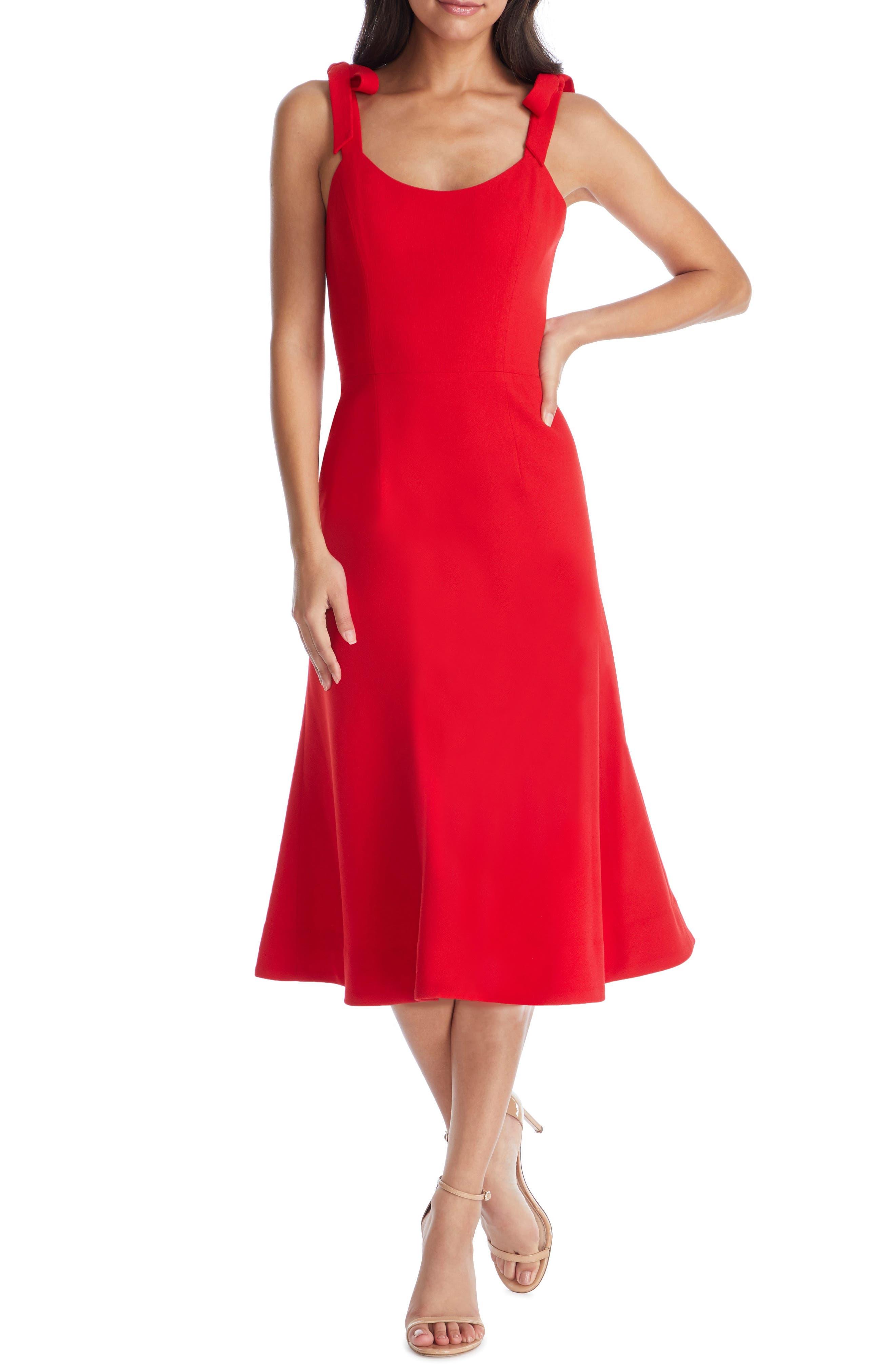 Dress The Population Hana Tie Shoulder Cocktail Dress, Red