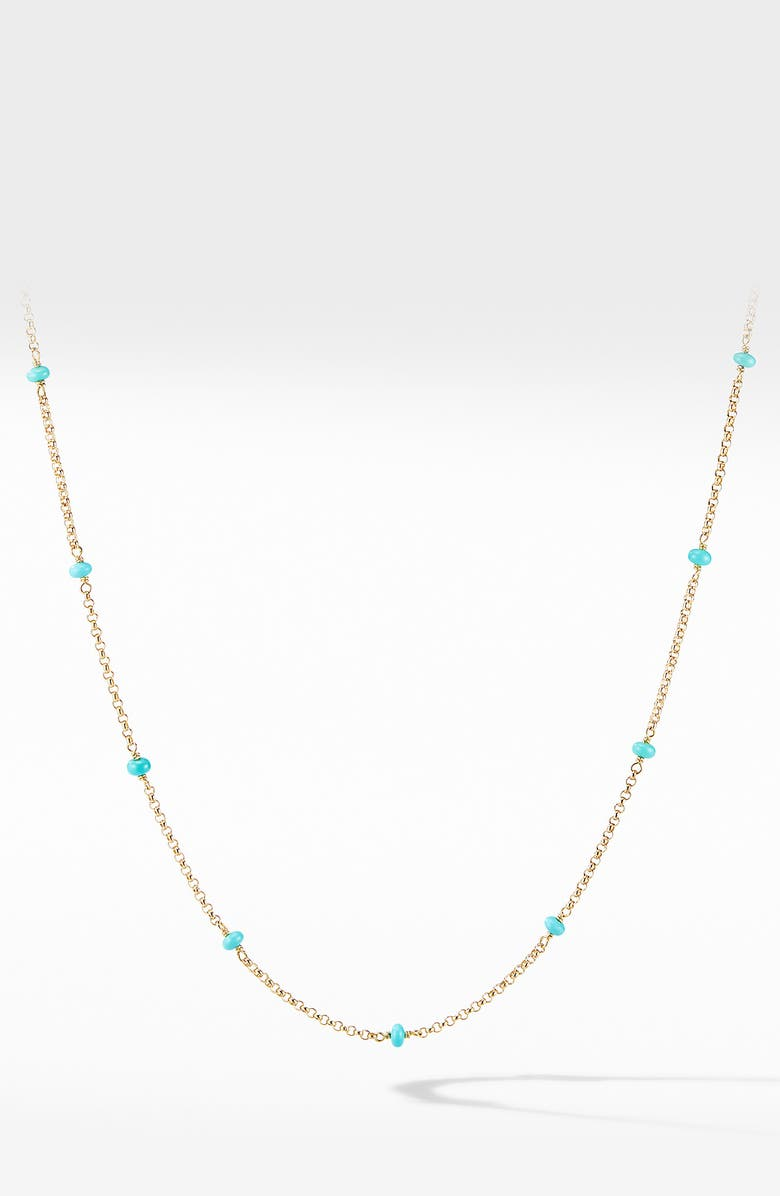 DAVID YURMAN Cable Collectibles<sup>®</sup> Bead & Chain Necklace in 18K Yellow Gold with Turquoise, Main, color, YELLOW GOLD/ TURQUOISE