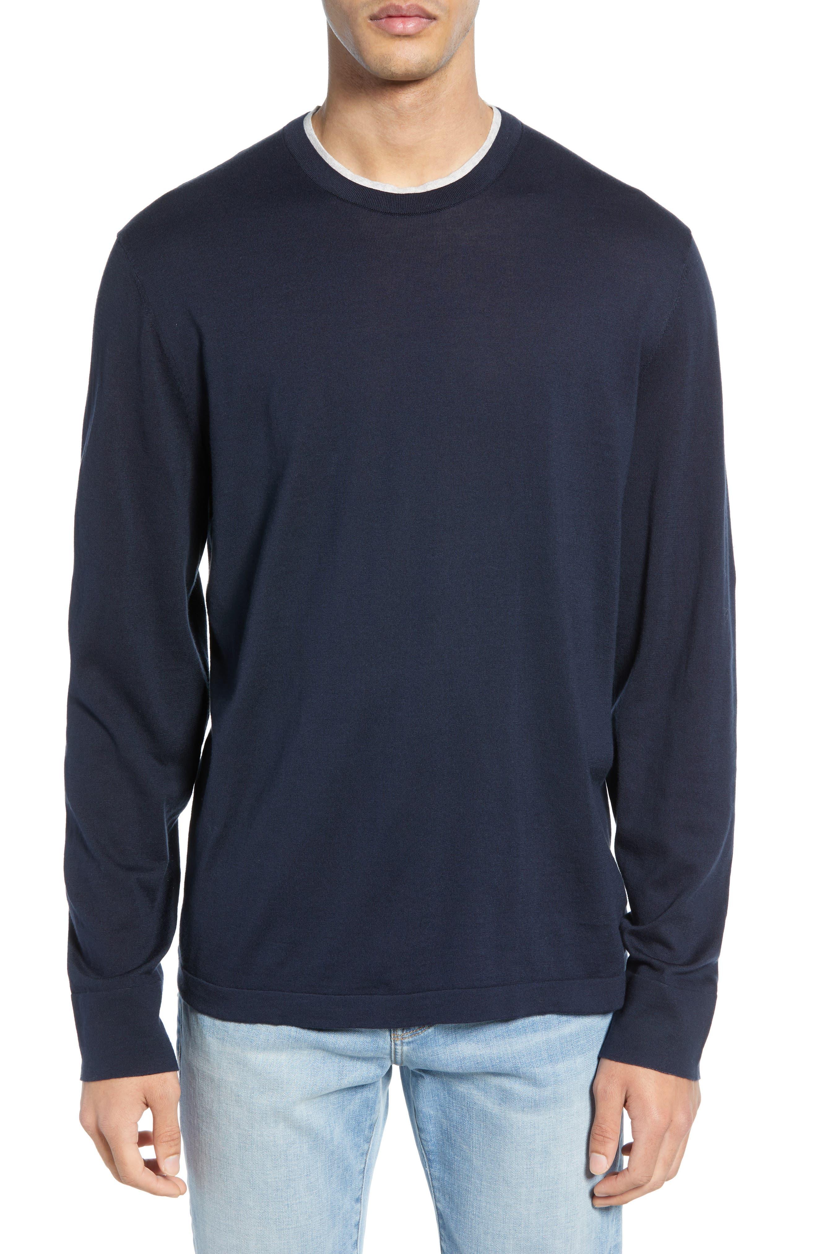 James Perse Slim Fit Cotton Crewneck Sweater, Blue