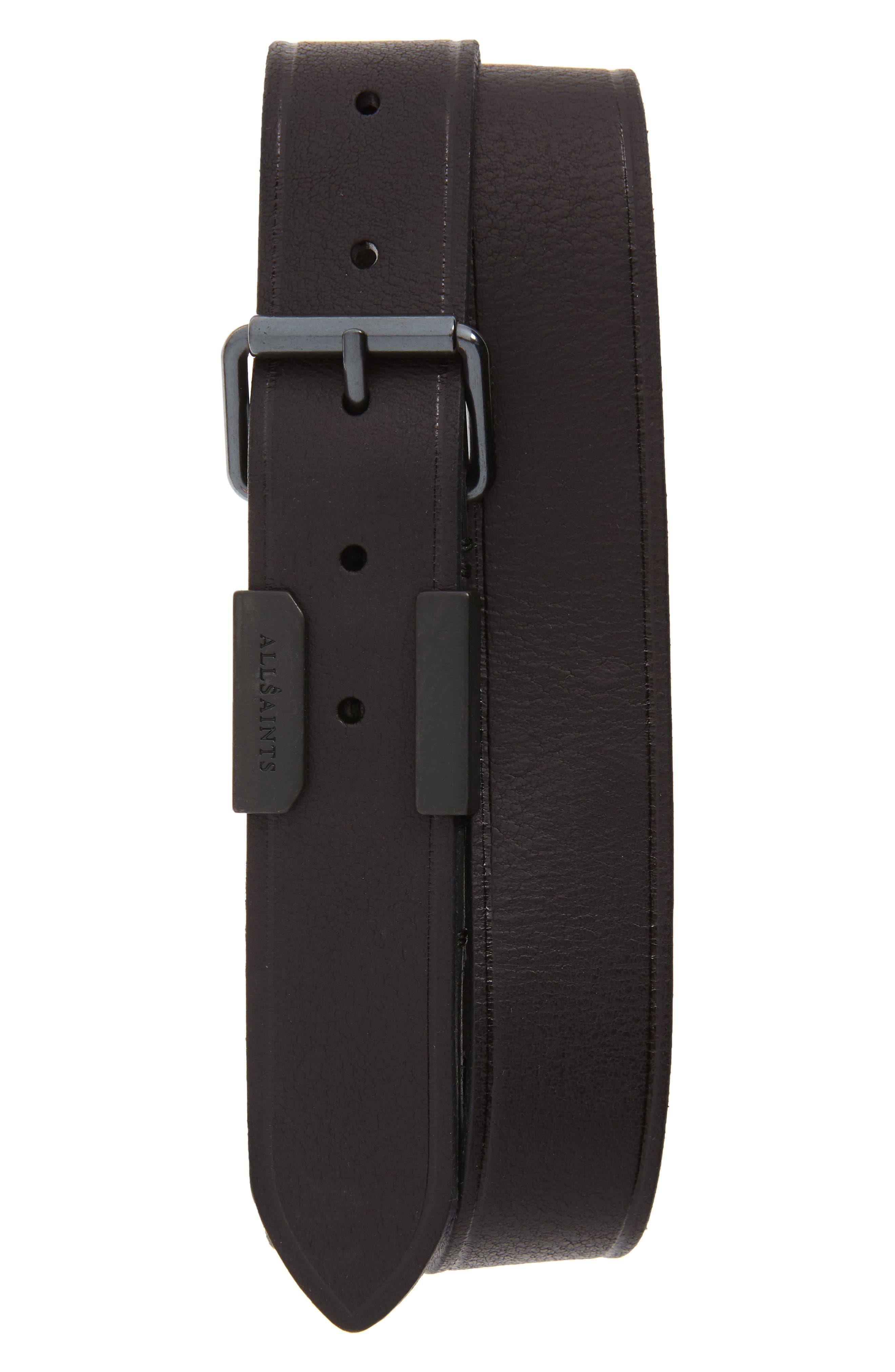 Allsaints Leather Belt, Black Milled