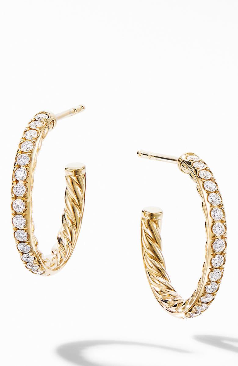 DAVID YURMAN Extra Small Hoop Earrings in 18K Yellow Gold with Pavé Diamonds, Main, color, DIAMOND