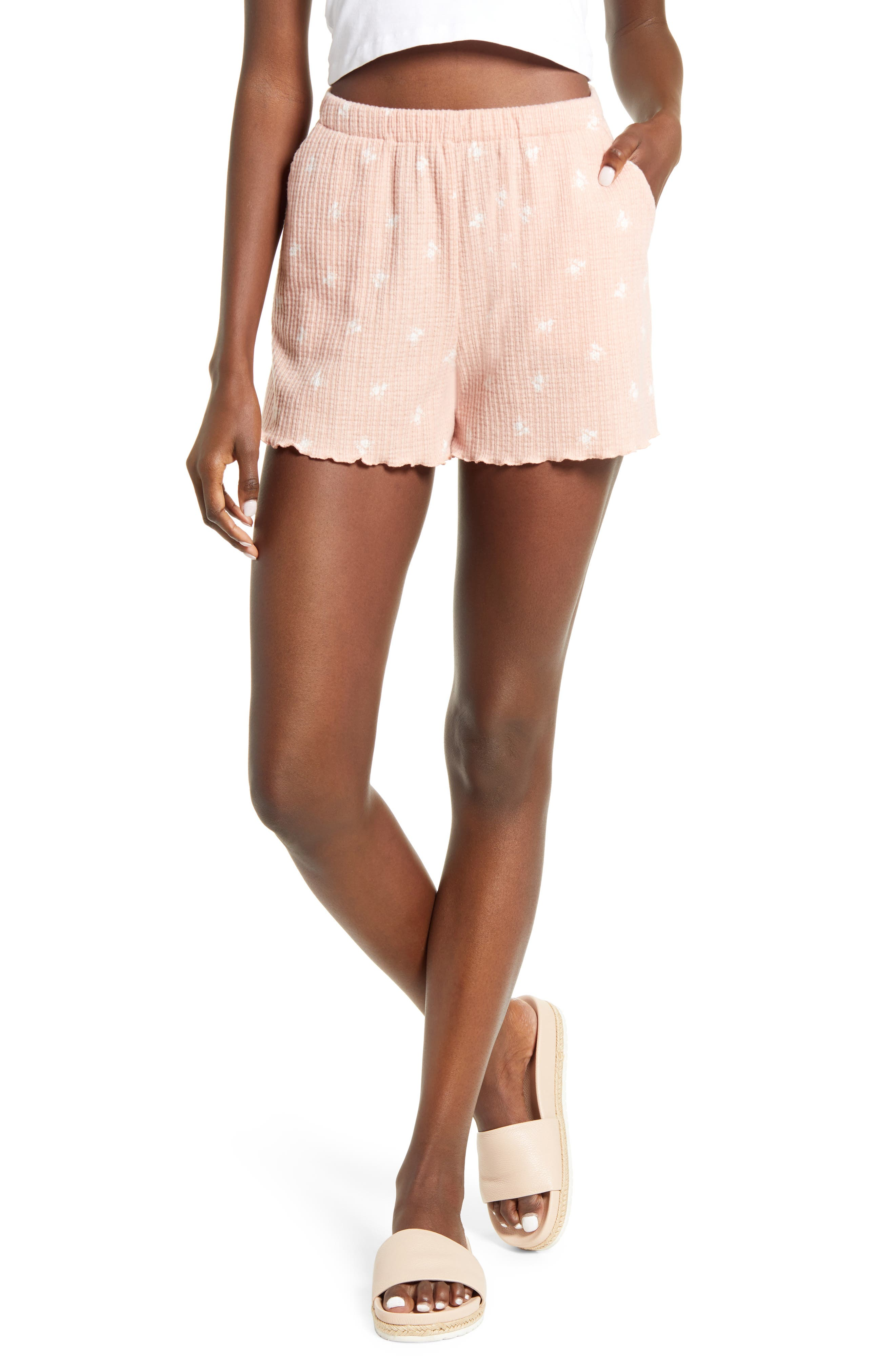 Softly ribbed shorts are tossed with a lettuce edge for a look that instantly brightens an already sunny day. Style Name: All In Favor Lettuce Hem Shorts. Style Number: 6143026. Available in stores.