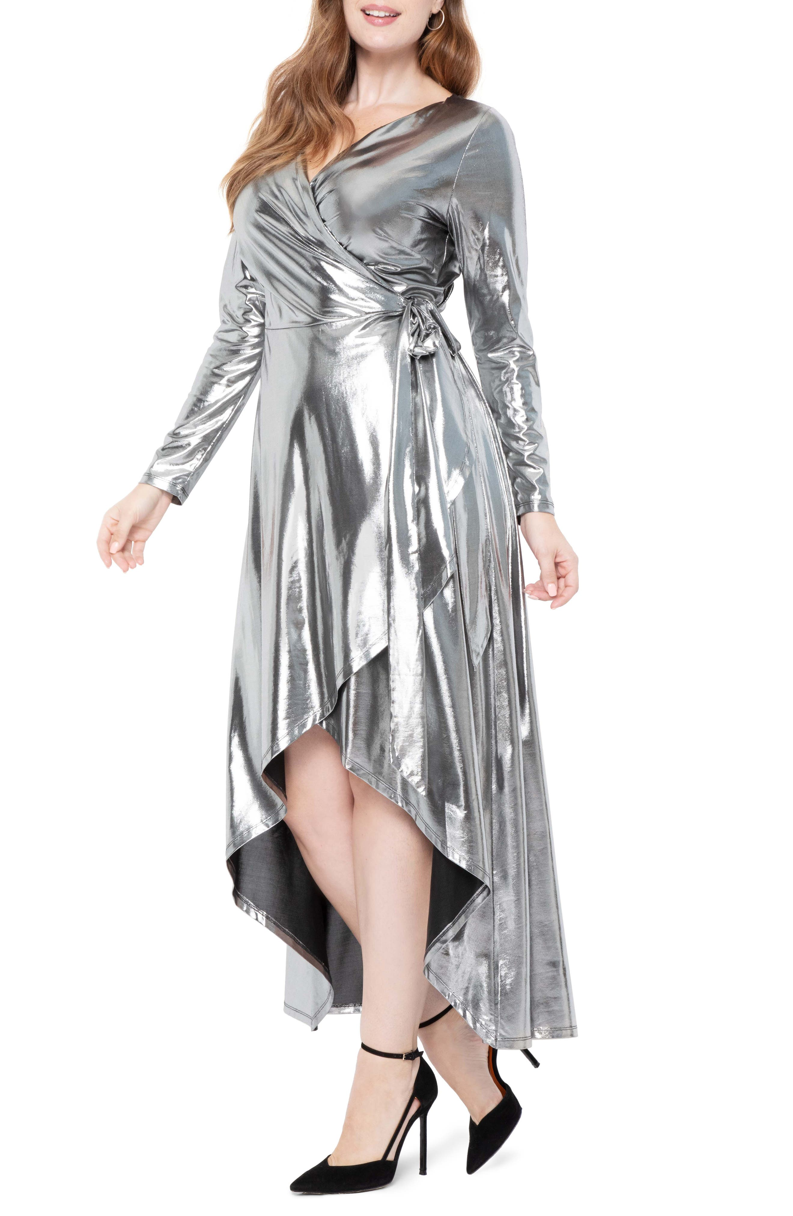 70s Prom, Formal, Evening, Party Dresses Plus Size Womens Eloquii Metallic Long Sleeve Jersey Wrap Maxi Dress Size 28W - Metallic $139.95 AT vintagedancer.com