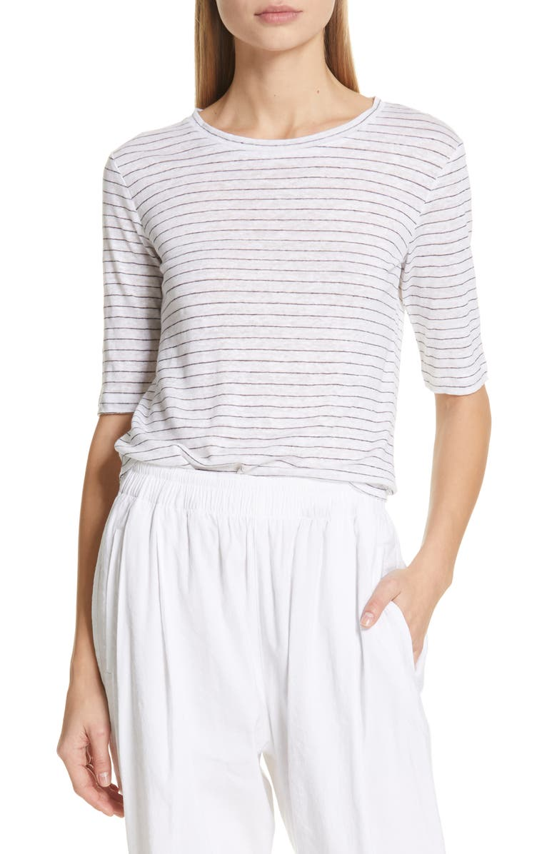 VINCE Micro Stripe Elbow Sleeve Linen Top, Main, color, OPTIC WHITE/ OBSIDIAN