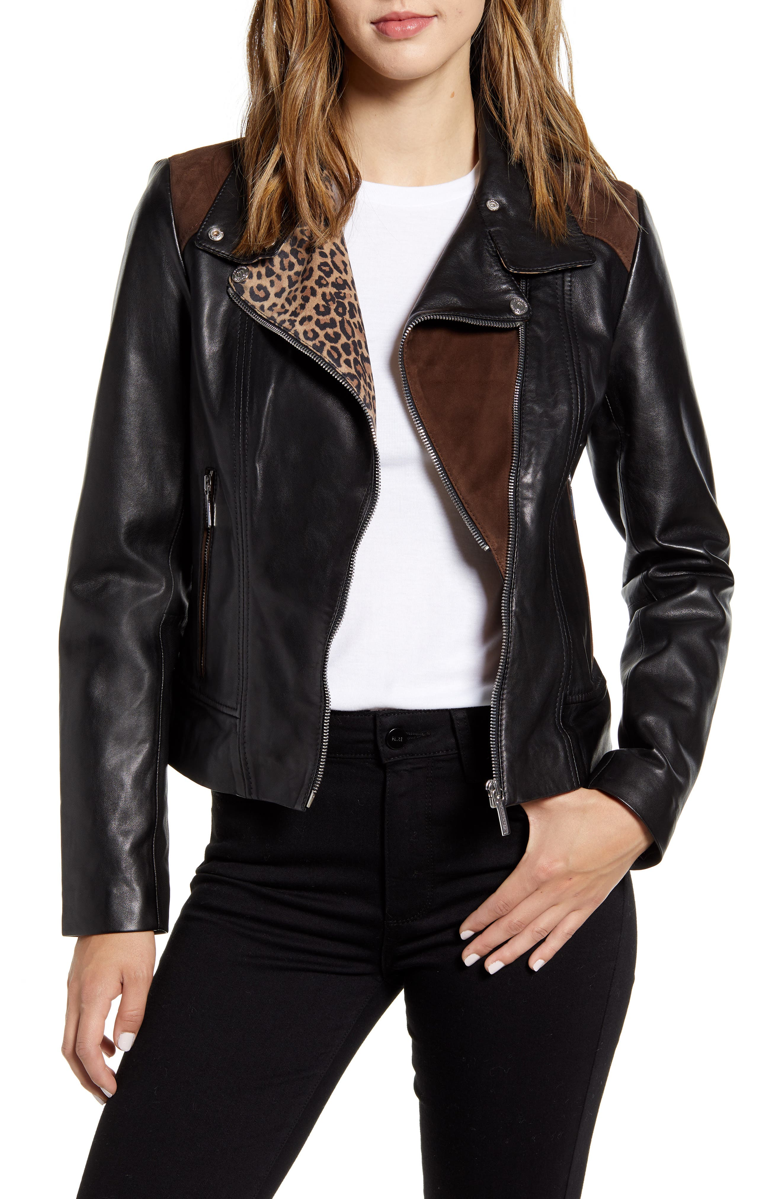 Bernardo Mixed Media Leather Moto Jacket (Regular & Petite)