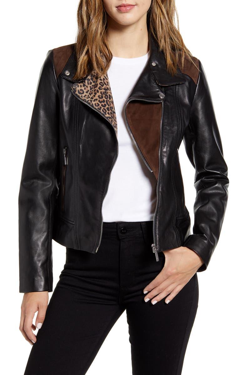 BERNARDO Mixed Media Leather Moto Jacket, Main, color, BLACK