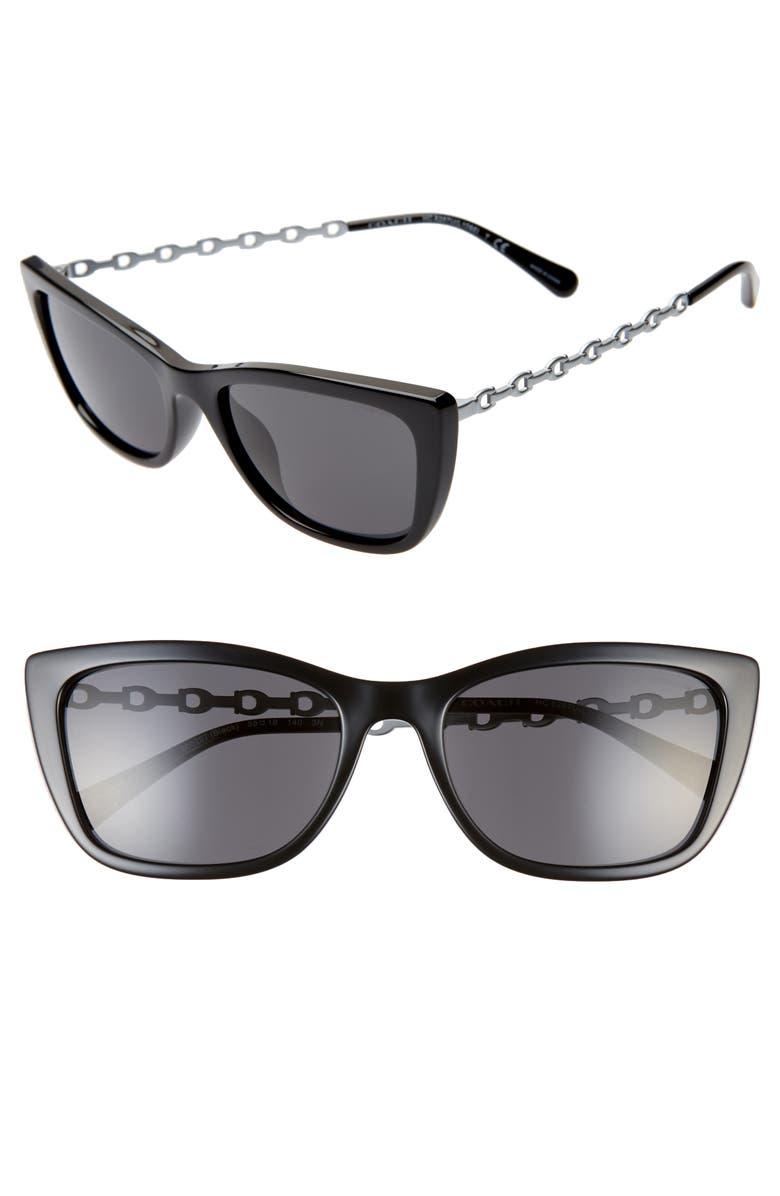 COACH 55mm Cat Eye Sunglasses, Main, color, 001