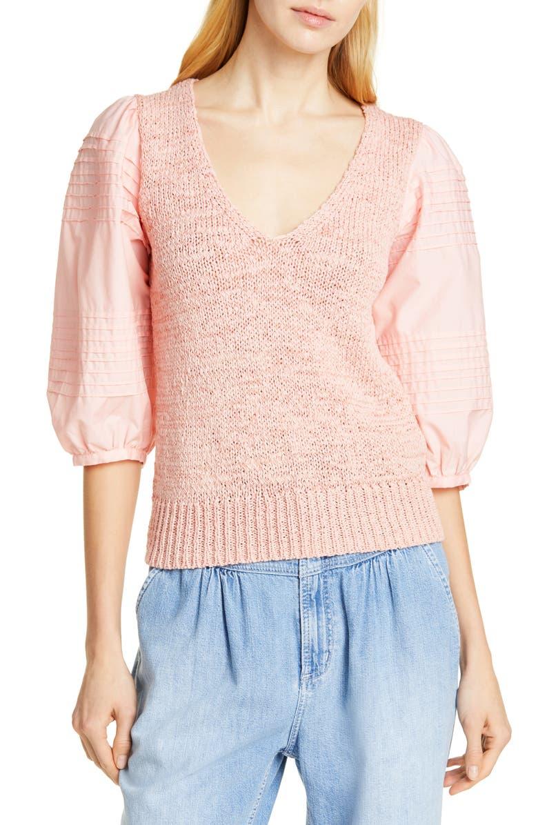 LA VIE REBECCA TAYLOR Mix Media Cotton Sleeve Sweater, Main, color, TAWNY PEACH