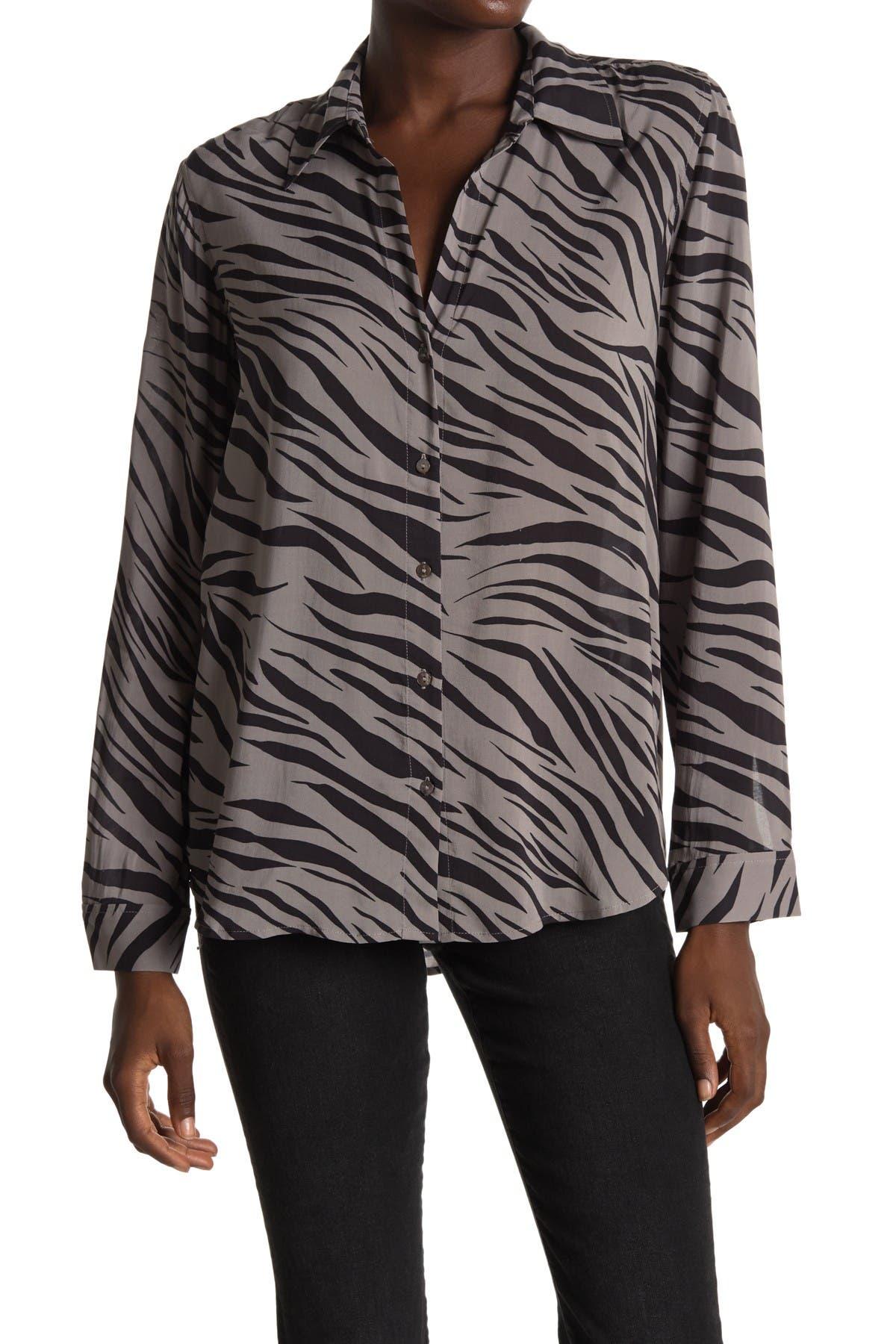 Image of L'AGENCE Nina Long Sleeve Zebra Stripe Print Blouse