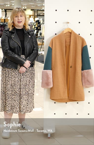 Out of Office Faux Fur Cuff Coat, sales video thumbnail